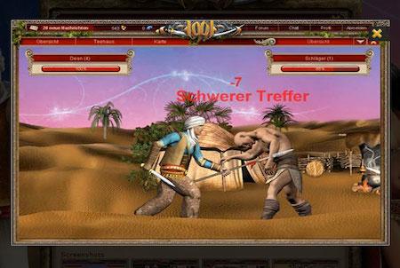 Kampf im Browsergame 1001.de