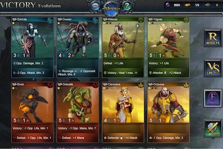 verschiedene Heldenkarten bei Fantasy Rivals