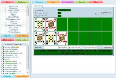 Pokerrunde im Browsergame Citys Life