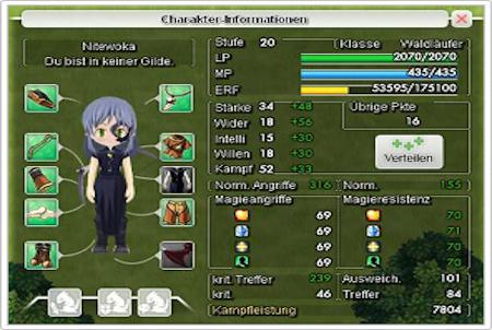 Charakterinformationen im Browsergame Canaan