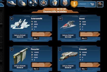 Nemexia Raumschiffe erstellen