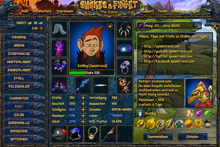 Shakes & Fidget Charakterausstattung