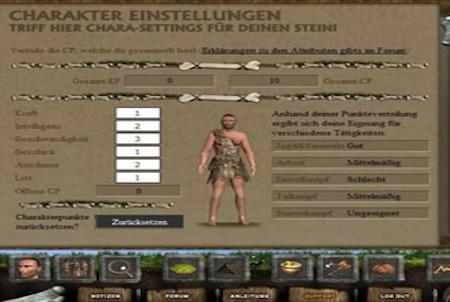 SteinZeitSpiel 2 Charaktereinstellung
