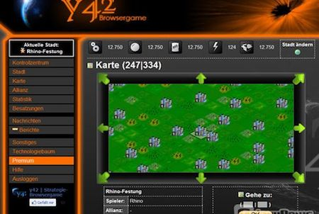 Navigation bei Browsergame Y42