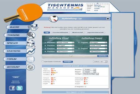 Tischtennis-Manager Aufstellung
