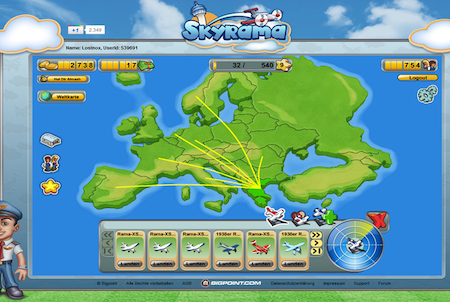 Skyrama Flugrouten