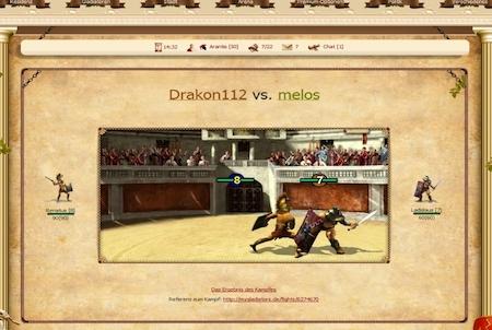 Arenakampf im Browsergame Gladiators