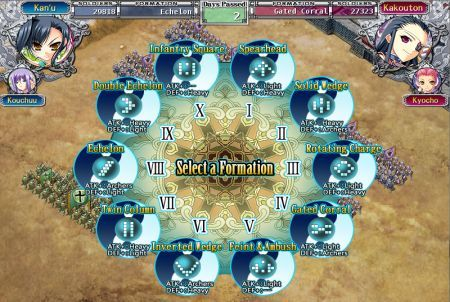 Formationswahl bei Koihime Musou
