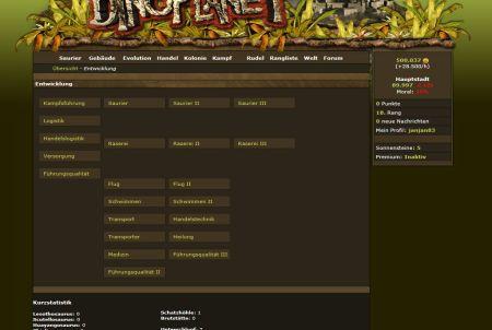 Entwicklung des Browsergames DinoPlanet