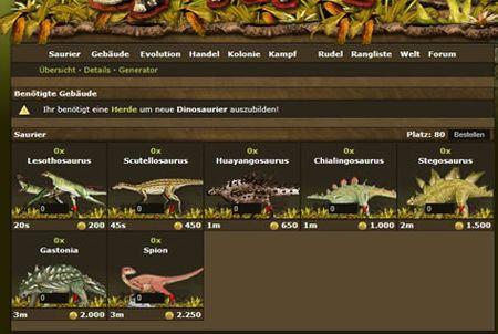 Ein Saurier aus dem Browsergame DinoPlanet