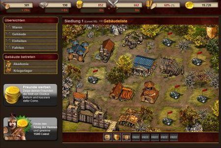 eine kleine Siedlung beim Browsergame Gladius Bellum