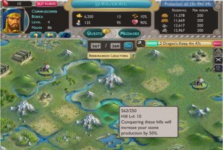 Karte aus dem Browsergame Dragons of Atlantis