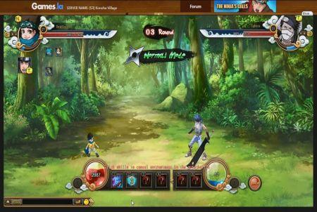 Kampfszene bei dem Browsergame Naruto Saga