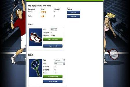 Equipment bei Online Tennis Manager
