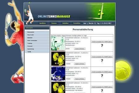 Personalabteilung bei Online Tennis Manager