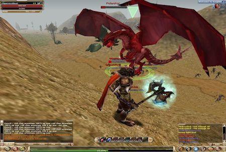 Kampf mit einem Drachen bei Knight Online