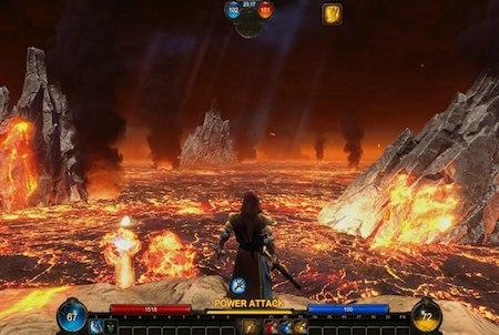 Charakter umgeben von Lava bei Panzar