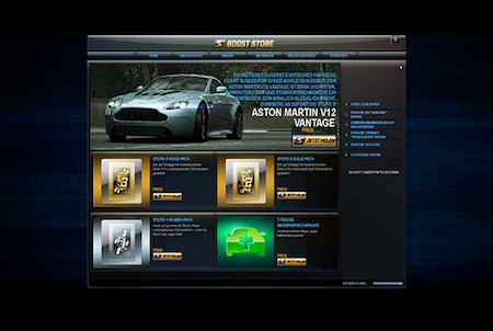 Need for Speed World Boost Store